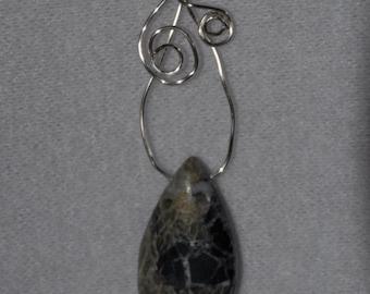 Jasper wire wrapped pendant