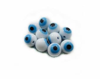 White Evil Eye Beads, Evil Eye Glass Beads, Evil Eye Beads, Glass Beads, 10mm Glass Beads, 10pcs Glass Beads, Jewelry Making, Craft Supplies