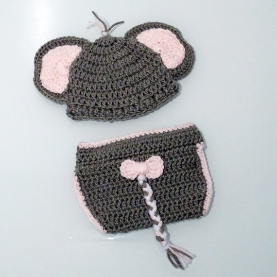 Crochet Elephant Outfit Baby Elephant Outfit Newborn Photo