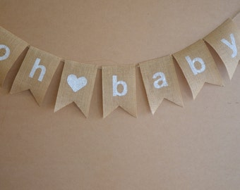 "Rustic Baby Shower Hessian Bunting - Burlap Banner ""oh baby"""