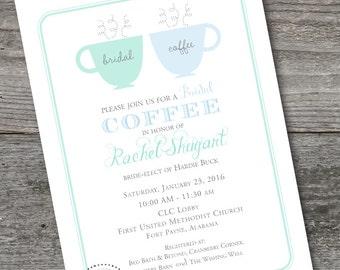 Bridal Coffee Invitation, PRINTABLE, Bridesmaid Luncheon Invitation, CUSTOM, Coffee invitation, wedding shower, bridal tea