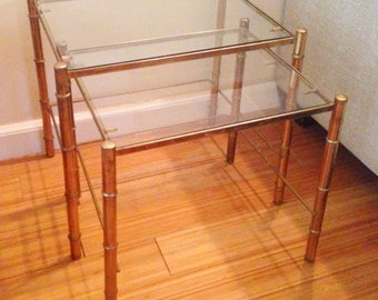 Pair of Hollywood Regency Gold Mid-Century Nesting Tables