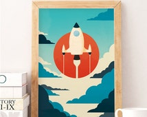 Space print, Spaceship art, Nursery wall art, Nursery wall decor, Retro nursery, Vintage nursery, Kids room art, Kids room decor, Artwork
