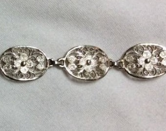Antique Vintage Silver Oval Flower Floral Filigree Link Bracelet