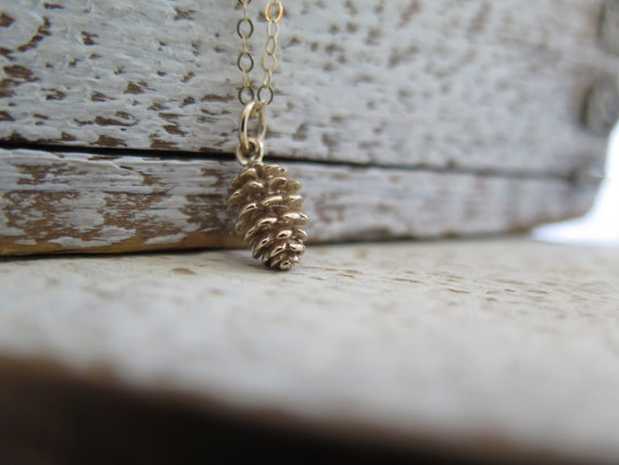 Pinecone Necklace, Gold Pinecone Necklace, Tiny Gold Pinecone Necklace, Nature Jewelry