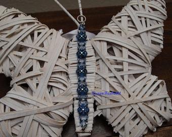 Band Bracelet / Seed Bead Bracelet/ Blue Bracelet /  Crystal Bracelet / Toggle Clasp