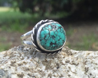Turquoise Ring, Size 5 1/4, Sterling Silver