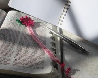 Crochet Hot Pink Flower Bookmark