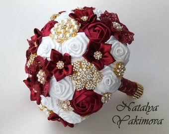 Brooch Bouquet, Bridal Bouquet, Wedding Bouquet, Fabric Bouquet, Unique Wedding Bridal Bouquet, Marsala and white, Flowers on a wedding