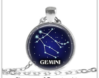 Gemini Constellation Necklace Gemini Zodiac jewelry Constellation jewelry Gemini Zodiac Pendant Necklace Gemini keyfob Gemini  Keychain
