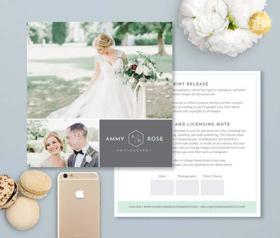 Print Release Template for Photographer, Print Release Photoshop Template, Digital Photo Marketing Template - INSTANT DOWNLOAD - PR002