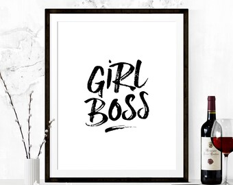 Girl Boss Wall Print, Girl Boss Printable, Printable Quote, Girl Boss Print, Motivational Print, Inspirational Print, Inspirational Quote