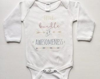 Baby Bodysuit, Kids Shirt, Little Bundle Onesie, newborn baby bodysuit, home from hospital outfit, maxandmaekids, max and mae