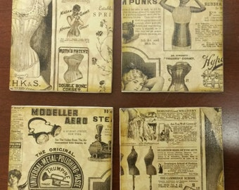 Steam punk vintage coasters  (set of 4)