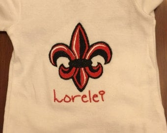 ULL Baby Girl Bodysuit. Rajun Cajun Louisiana Fleur De Lis Baby Bodysuit. Baby Gift. Personalized Custom Baby Girl Gift. ULL Fleur de lis