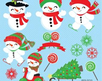Snowmen Clipart, Christmas clipart, Cute Snowman, Christmas Lollipop, Snowman Skating, Winter clipart, Snowflake, Commercial License Includ