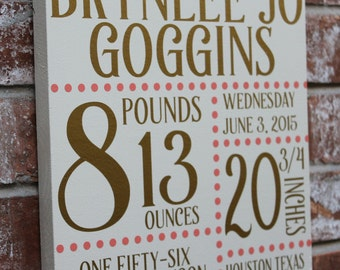 Birth Stats Sign, Baby Birth Sign, Baby Announcement, New Baby Gift, Name, Weight, Length, Time, Pounds, Custom Birth Stats, Copy