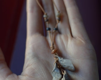 Dangling Crystals in Clay Necklace