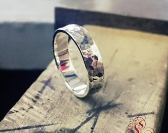 Hammered and oxidized sterling silver band