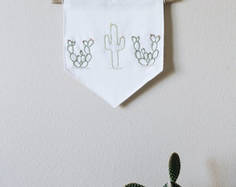 Cactus Embroidered Wall Hanging Banner
