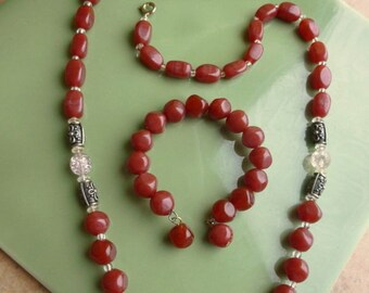 Vintage 1960s carnelian necklace and bracelet set