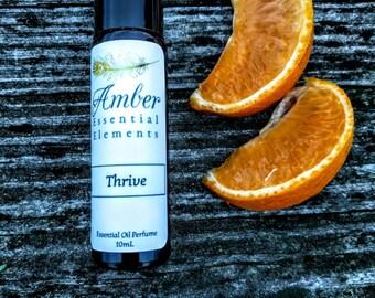 Thrive: lemongrass, blood orange, eucalyptus, and peppermint natural perfume blend