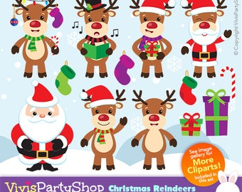 CHRISTMAS Reindeers Clipart, Printable, Instant download, PNG files, christmas clipart, C#005