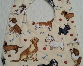 Baby Bib, Quilted Bib, Dog Fabric Bib