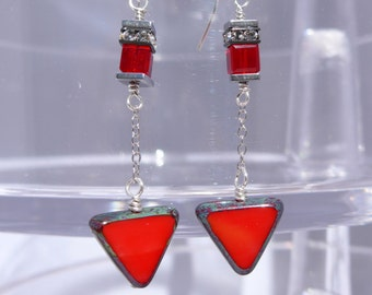 Red Triangle Earrings, Triangle Earrings, Modern Earrings, Whimsical Earrings, Holiday Earrings, 1022