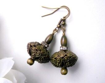 Antique bronze dangle antique bronze earrings bold earrings bold bronze earrings cateye earrings vintage style dangle green bronze earrings