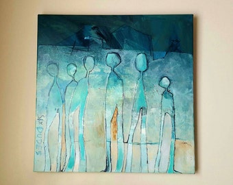 "Original Acrylic on Canvas Painting, title ""Six Dudes"" by George M. Clark, very vibrant Abstract Painting with turquoise colors of 6 figures"