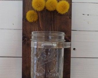 MADE TO ORDER - Mason Jar Wall Sconce, Wall Vase - Handmade
