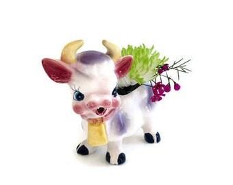 Antique Cow Planter or Pitcher - Antique Cow Creamer or Planter - Adorable Retro Kitchen Kitsch