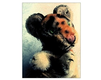 SALE postcard postcard art print cool hand puppet in orange, grey Tiger - Teddy bear, beige portrait - SALE - offer picture photo