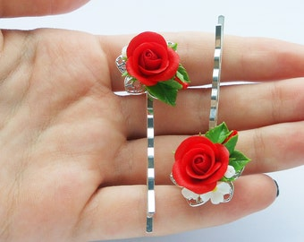 Bobby pin red Rose handmade polymer clay Rose hair clips Red barrette Rose hair accessory Floral Bobby Pin Hair Pin Flower Hair Accessories