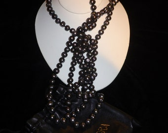 Honora Black Pearl Necklace Opera Length Ringed Black Pearls Stunning Iridescent Black Round Matched Cultured Pearls Measure 9-10 mm Ea