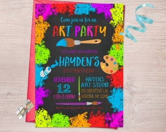 Art Party Birthday Invitation, Painting Party, Art Invitation, Art Birthday Party, Printable Invitation, Painting Invitation, Arts Crafts