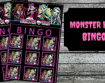 Monster High  Bingo Game with 10 unique Bingo cards and 30 medium calling cards - Printable, INSTANT DOWNLOAD
