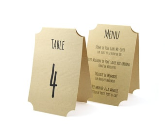 Menu and table number 1 easel shape ticket Ticket, unfolded dimensions 11 mm x 34 cm