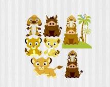 Baby Lion King Clip art, Baby Lion King SVG, Lion King baby shower, baby Simba, Baby Nala, Baby Timon and pubma, Digital Clip Art, PNG, SVG