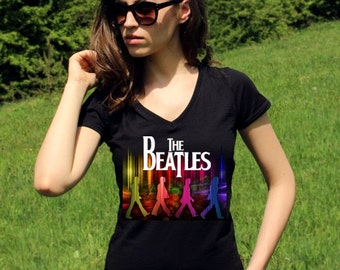 The Beatles Shirts The Beatles Shirt The Beatles T Shirt The Beatles Tshirt John Lennon Shirt Rock Women V Neck Tees Rock Shirt