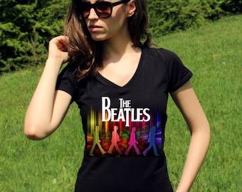 The Beatles Shirts The Beatles Shirt The Beatles T Shirt The Beatles Tshirt John Lennon Shirt Rock Women V Neck Tees Rock Shirt