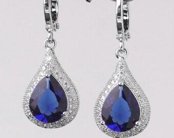 Blue Sapphire Earrings 14K White Gold-Filled / Sapphire Earrings Dangle