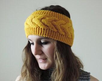 Yellow Knit Headband, Cable Knit Headband, Ear Warmer, Winter Hairband, Yellow Knitted Headband, Chunky Headband