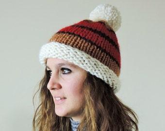 Chunky Pom Pom Hat, Color Block Beanie, Hand Knit Pom Pom Hat, Winter Beanie, Cream, Cinnamon, Red Slouchy Beanie