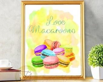 Macaroons, Macaroons Decor, French Macaroons, Macaroons Watercolor, Macaroons Print, Macaroons Kitchen Print, Macarons Wall Decor