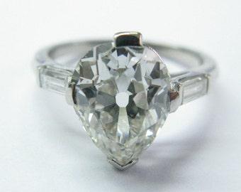 Plaitnum Vintage Pear Shape Old European Cut Diamond Solitaire Ring 3.12Ct
