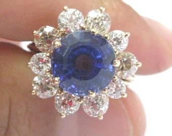 Fine Gem Tanzanite Old Mine Cut Diamonds Yellow Gold Jewelry Ring 10.05CT