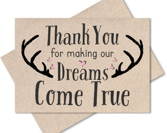 Thank You For Making Our Dreams Come True Card Wedding Planner