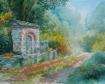 Mount Athos Forest Path Hilandar Monastery Cross (print)